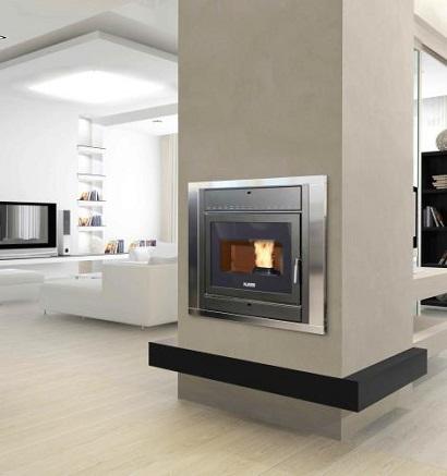 impianto termocamino a pellet idro pellets klover fire
